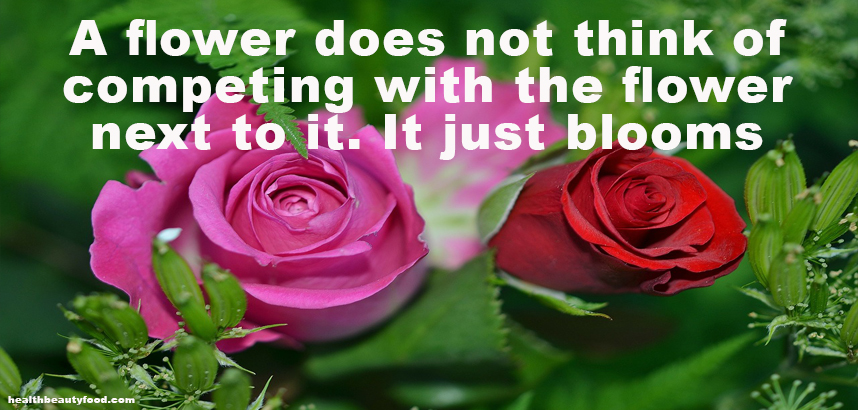 Beauty Quote A flower does not think of competing with the flower next to it. It just blooms.